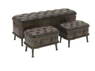 Vintage Dark Brown Iron  amp  leather Cushioned Storage Benches w  Iron Feet  Set of 3  Retail 310 99