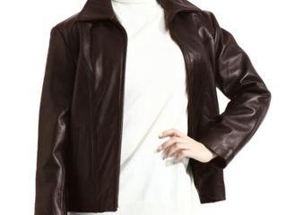 ladies Brown lambskin leather Scuba Jacket zip out liner  Retail 105 99