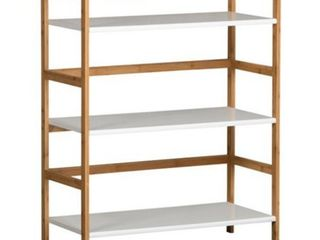 Casual Contemporary living 3 Tier Stackable Bookshelf  Bamboo with MDF  White