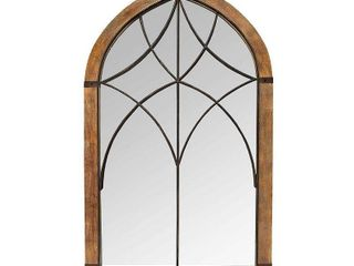 24 02 in x 40 in Augusta Cathedral Mirror Brown Bronze   Stratton Home Decor