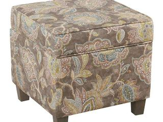 Square Ottoman with lift Off Top Gray Floral   Homepop