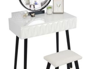 Alariz White Vanity With lighted Mirror and Stool