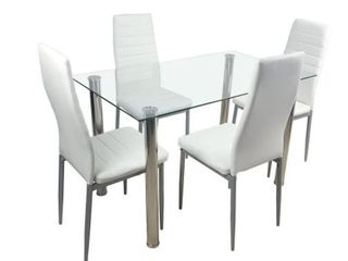 Creamy White Faux leather Dining Chairs  Set of 4