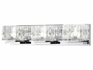 Home Decorators Collection Tulianne 75 Watt Equivalent 3 light Chrome lED Vanity light with Clear Cube Glass