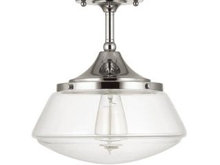Home Decorators Collection 10 in  1 light Polished Nickel Vintage Schoolhouse Semi Flush Mount with Clear Glass Shade