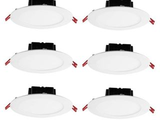 Commercial Electric 6 in  White Flush Round Wet Rated lED Integrated Recessed lighting Kit  6 Pack