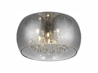 Home Decorators Collection 5 light Chrome Glass Integrated lED Flush Mount with Clear Glass Beads