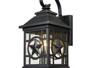 laredo Texas Star Outdoor Black Wall lantern Sconce