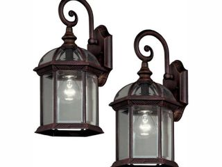 Hampton Bay Twin Pack 1 light Weathered Bronze Outdoor Wall lantern Sconce