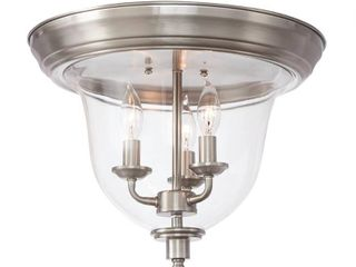 Home Decorators Collection 3 light Brushed Nickel Flush Mount with Clear Glass