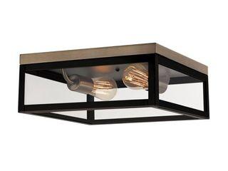 Globe Electric Verona 2 light Dark Bronze Flush Mount Ceiling light with Clear Glass Panes  65919