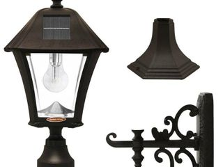 GAMA SONIC Baytown Bulb Outdoor Black Integrated lED Solar Post light with Pier and Wall Mounting Options