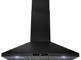 AKDY 36  Island Mount Black Painted Stainless Steel Touch Panel Kitchen Range Hood Cooking Fan