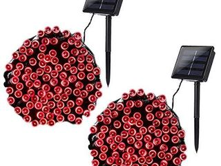 Joomer 2 Pack Solar String lights 72ft 200 lED 8 Modes Outdoor String lights Waterproof Solar Fairy lights for Garden  Patio  Fence  Balcony  Outdoors  Red