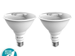 EcoSmart 120 Watt Equivalent PAR38 lED Motion Sensor Flood light Bulb Bright White  2 Pack
