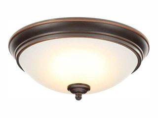 Commercial Electric 11 in  60 Watt Equivalent Oil Rubbed Bronze Integrated lED Flush Mount with Frosted White Glass Shade