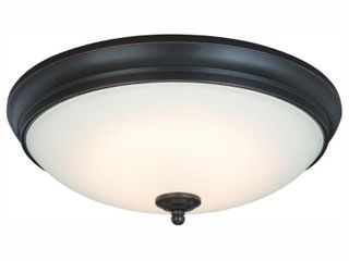Commercial Electric 13 in  60 Watt Equivalent Oil Rubbed Bronze Integrated lED Flush Mount with White Glass Shade
