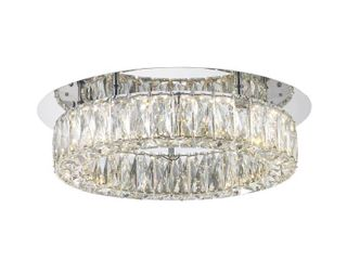 Home Decorators Collection Keighley Crystal 100 Watt Polished Chrome Integrated lED Flush Mount