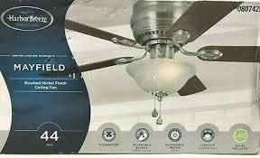 Harbor Breeze Mayfield Ceiling Fan with light Kit 44 in Brushed Nickel Flush Modern