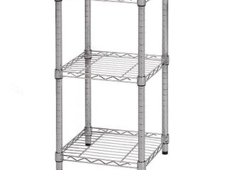 Honey Can Do 3 Shelf Steel Storage Shelving Unit  Chrome  14x15x30