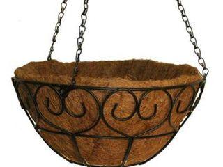 2  Vigoro 14 in  Metal Heart Scroll Hanging Coco Basket  Black