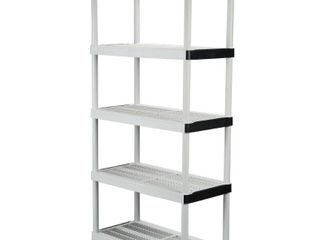 HDX Gray 5 Tier Plastic Garage Storage Shelving Unit  36 in  W x 72 in  H x 18 in  D
