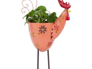 Outdoor Metal Rooster Planter with Stand Pink   Olivia   May