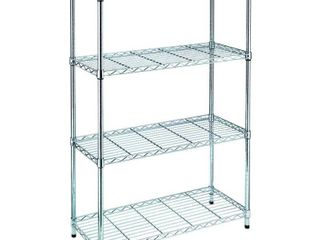HDX Chrome 4 Tier Metal Wire Shelving Unit  36 in  W x 54 in  H x 14 in  D  Grey NOT FUllY INSPECTED OUTSIDE OF BOX