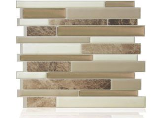 5  smart tiles Milano Sasso Multi 11 55 in  W x 9 63 in  H Peel and Stick Decorative Mosaic Wall Tile Backsplash  4 Pack  Beige