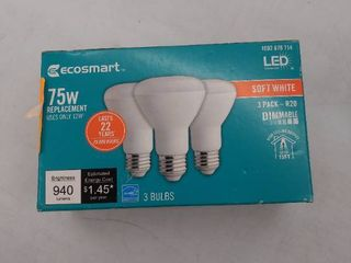 3 Pack Ecosmart 75 watt Equiv Br20 Dimmable led light Bulb Soft White