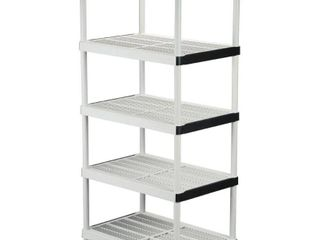 HDX Gray 5 Tier Plastic Garage Storage Shelving Unit  36 in  W x 72 in  H x 24 in  D  DAMAGED  MISSING 1 SHElF