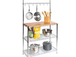 Seville Classics 36 in W x 14 in D x 63 in H  Steel Baker s Rack with Solid Wood Top  Grey