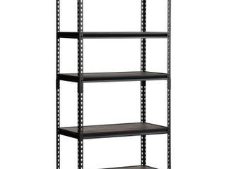 Edsal Shelves 36 in  W x 72 in  H x 18 in  D Steel Commercial Shelving Unit Black UR 185WGB