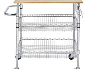 StyleWell Gatefield Chrome Kitchen Cart with Natural Wood Top  Chrome with Natural Wood Top