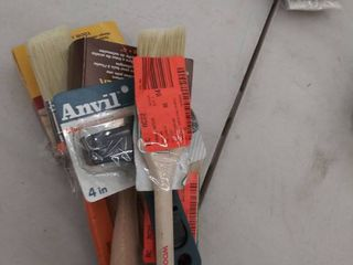 lot of various paint stain brushes
