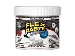 USED Flex Seal Flex Paste  Super Thick Rubber Spreadable Paste  White 1lb Tub AMOUNT unknown