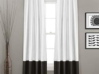 lush Decor Gray Prima Window Curtains Panel Set for living  Dining Room  Bedroom  Pair  54 x 84 inch  84  x 54  Black White