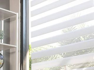 CHICOlOGY Everyday Cordless Zebra Shades  light Filtering Dual layer Window Blind Treatment Best for Kids   Perfect for living Room Bedroom Kitchen and More  39  W X 72  H  Basic Arctic