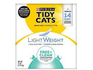 Purina Tidy Cats light Weight  low Dust  Clumping Cat litter  lightWeight Free   Clean Unscented  Multi Cat litter   17 lb  Box