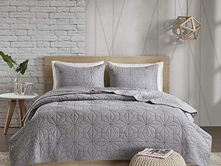Urban Habitat 100  Cotton Quilt Textured Design All Season  lightweight Coverlet Bedspread Bedding Set  Matching Shams  Full Queen 88 x92  Caden  Reversible Geometric Grey
