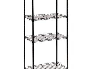 SBl   4 Tier Storage Shelves  Adjustable  Heavy Duty Metal Shelving Unit  Garage Shelving  Steel Wire Rack Organizer  Black  22 4l x 13 8W x 47 8H