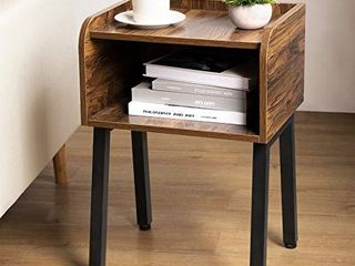 Homemaxs Nightstand  Small Side Table for Small Spaces  23 6 Inch High Small End Table with Storage  Bed Side Tables Bedroom Accent Table  Rustic Wooden Bedside Table with Steel Frame