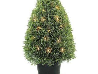 Upright Juniper Tree with Green Round Growers Pot with 50 Clear lights  30