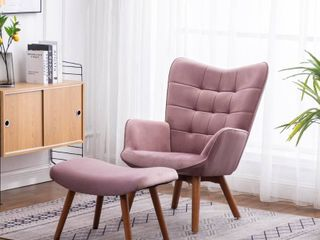 Carson Carrington Aasen Contemporary Silky Velvet Tufted Accent Chair   Stock Photo is not accurate color  YEllOW