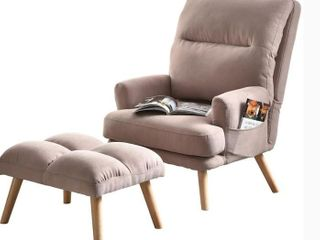 OVIOS Recliner chair with ottoman Velvet wingback chair Mid Century reading chair for living room Adjustable accent chair