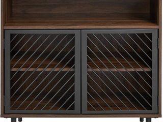 Walker Edison Modern Metal Wood Buffet And Bar Cart Kitchen Storage Cabinet S