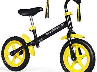 INFANS 12 lightweight Balance Bike  Kids Training Bicycle with Fenders  Tassel Ribbon  Adjustable Seat Handlebar  Inflation Free EVA Tires  No Pedal Pre Walking Bike for Toddler 2 to 5 Years  Yellow