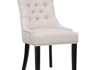Grandview Tufted Upholstered linen Fabric Dining Chair   Set of 6