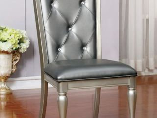 Furniture of America Tase Contemporary Silver Side Chairs  Set of 2  Silver