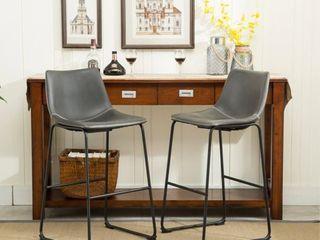 Carbon loft Inyo PU leather Vintage Barstools  Set of 2    Grey